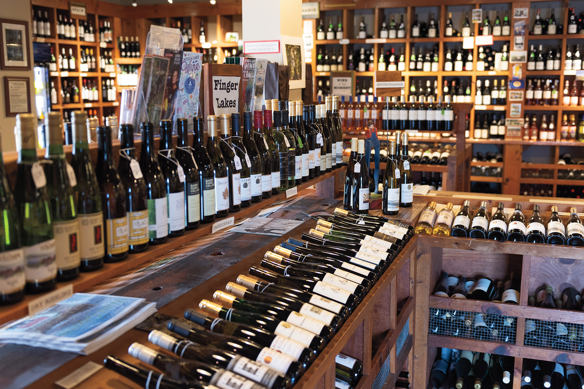 Interior of wine shop with a large Finger Lakes section