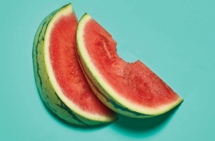 Watermelon on a blue background.