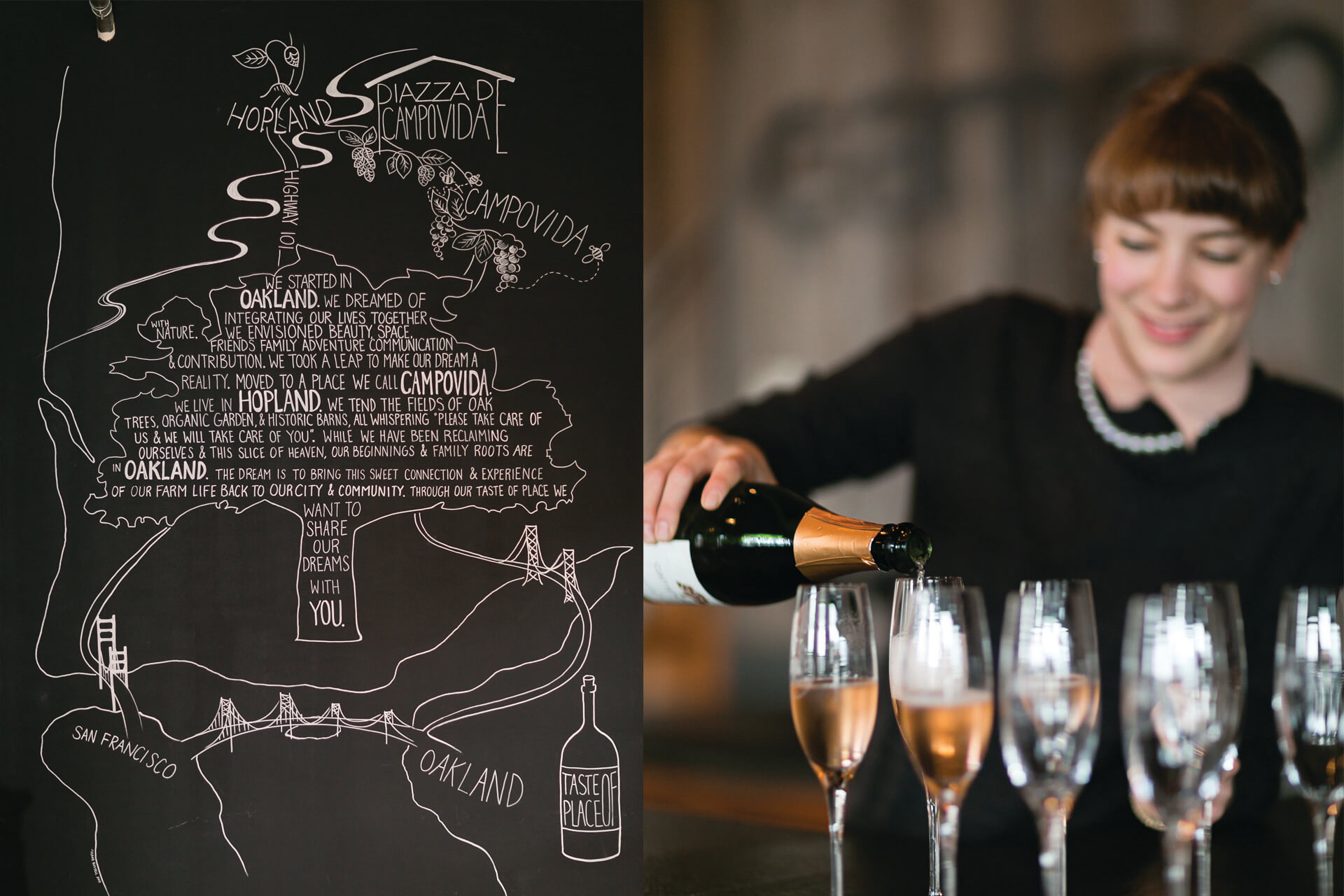 Left image of chalk board drawing about the winery, right image of woman pouring wine