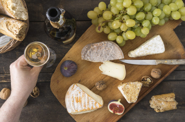 Champagne and cheese spread