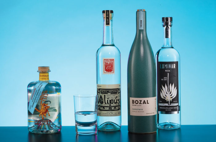 Right to left; Erstwhile Arroqueño (Mexico Erstwhile Mezcal, Brooklyn, NY); Alipús San Juan (Mexico; T. Edward Wines & Spirits, New York, NY); Bozal Tepeztate (Mexico; 3 Badge Beverage, Sonoma, CA); and Luminar Joven (Mexico; DWLL, Los Angeles, CA)