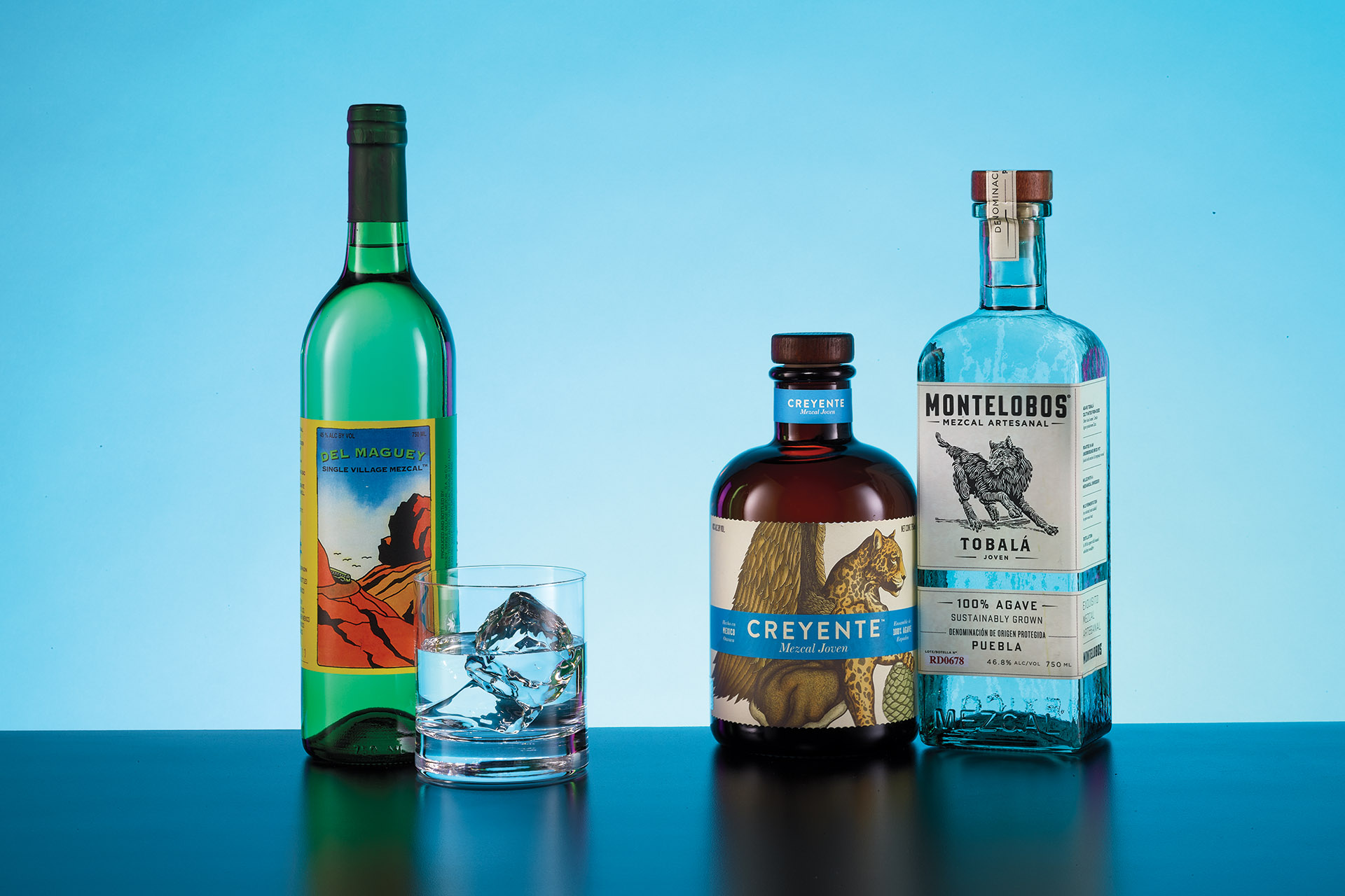 From left to right; Del Maguey Single Village Mezcal Espadin Especial (Mexico; Pernod Ricard, New York, NY); Creyente Mezcal Joven (Mexico; Proximo Spirits, Jersey City, NJ); and Montelobos Tobalá (Mexico; William Grant, New York, NY)