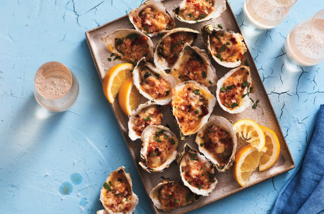 Baked oysters with bacon