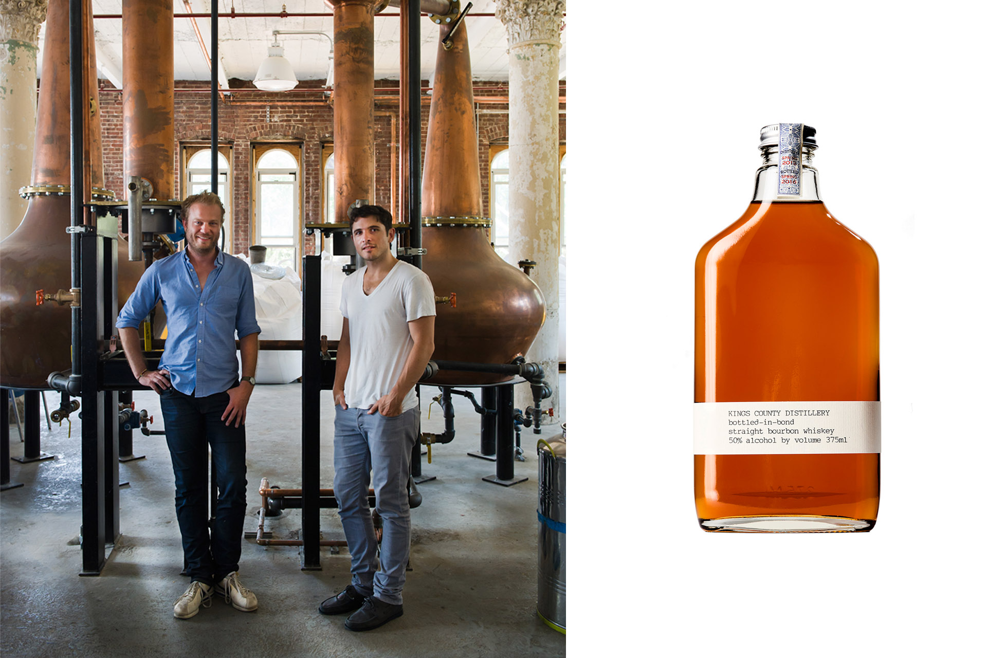 Two men and a stock image of a whiskey bottle