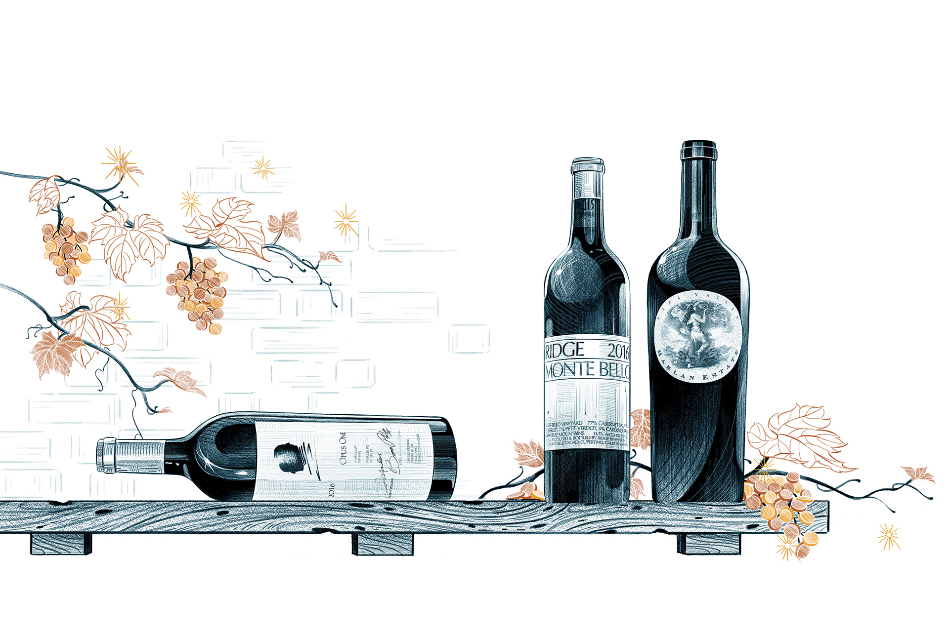 A wine bottle on its side with two wine bottles next to it