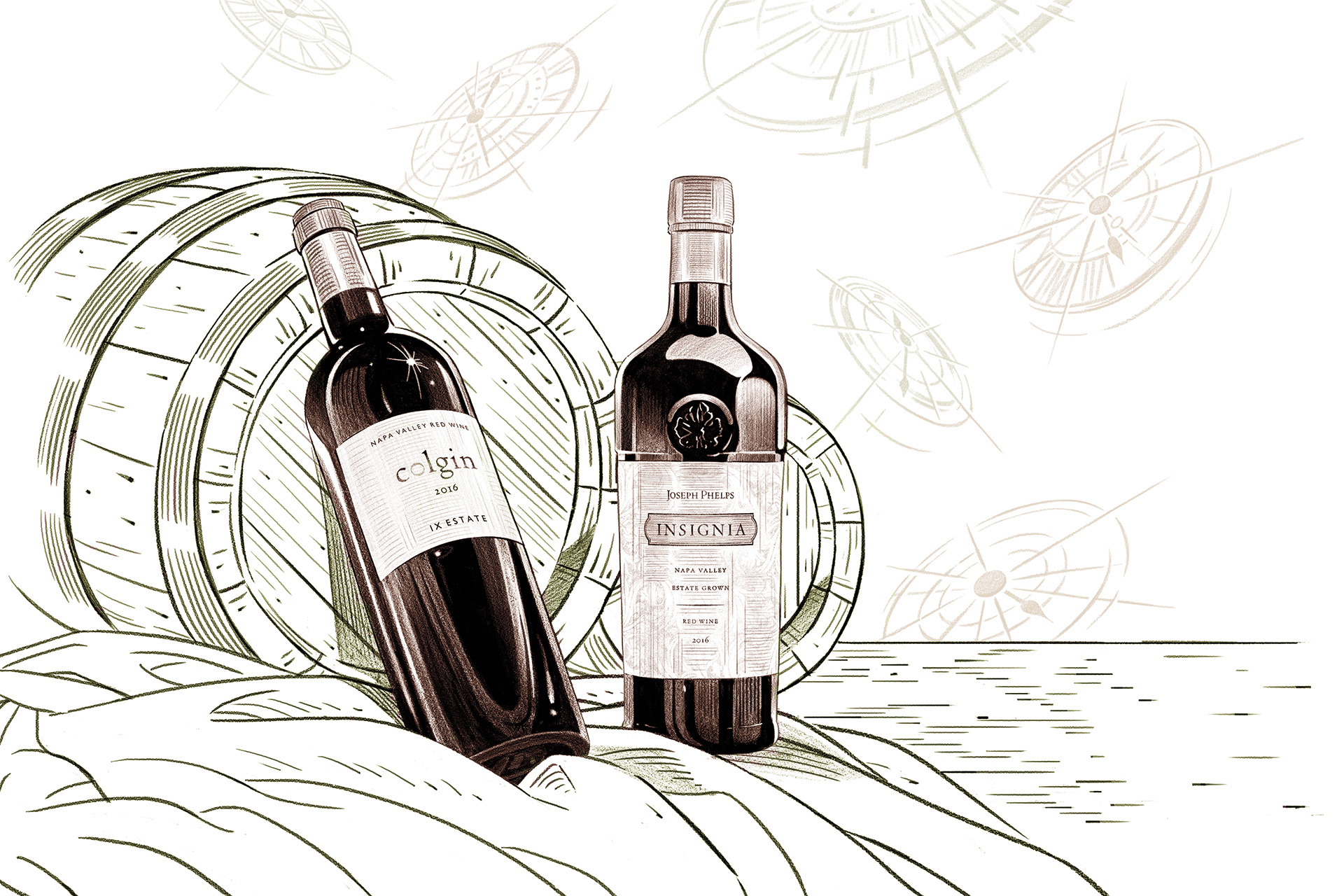 Illustration of two bottles of wine in front of a barrel