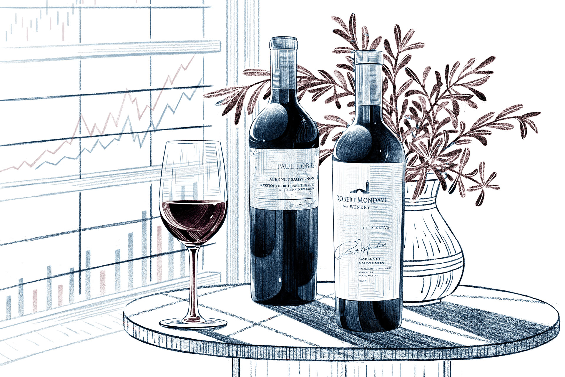 Illustration of a glass of wine next to two bottles of wine