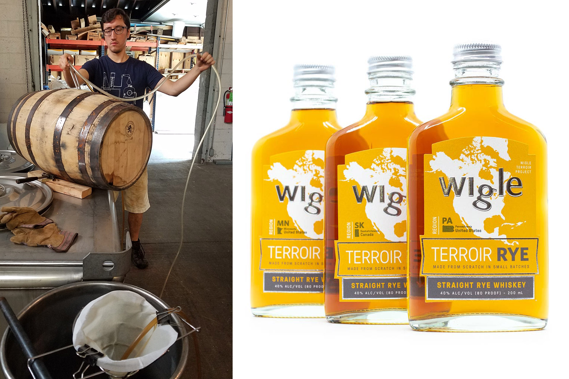 Man filling a barrel and right image of three bottles of whiskey