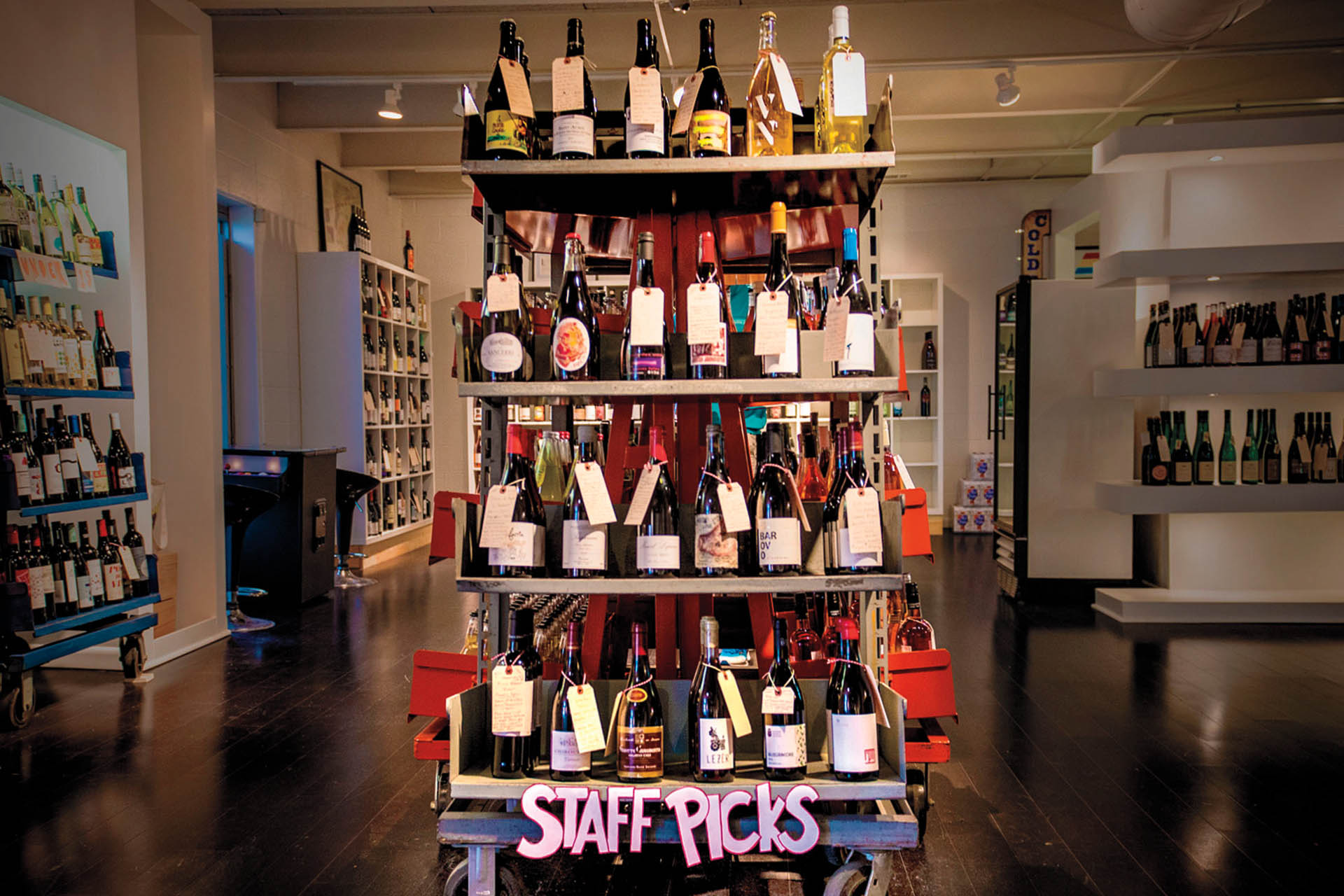 """Interior of Henry & Son, showing the """"staff picks"""" shelves"""
