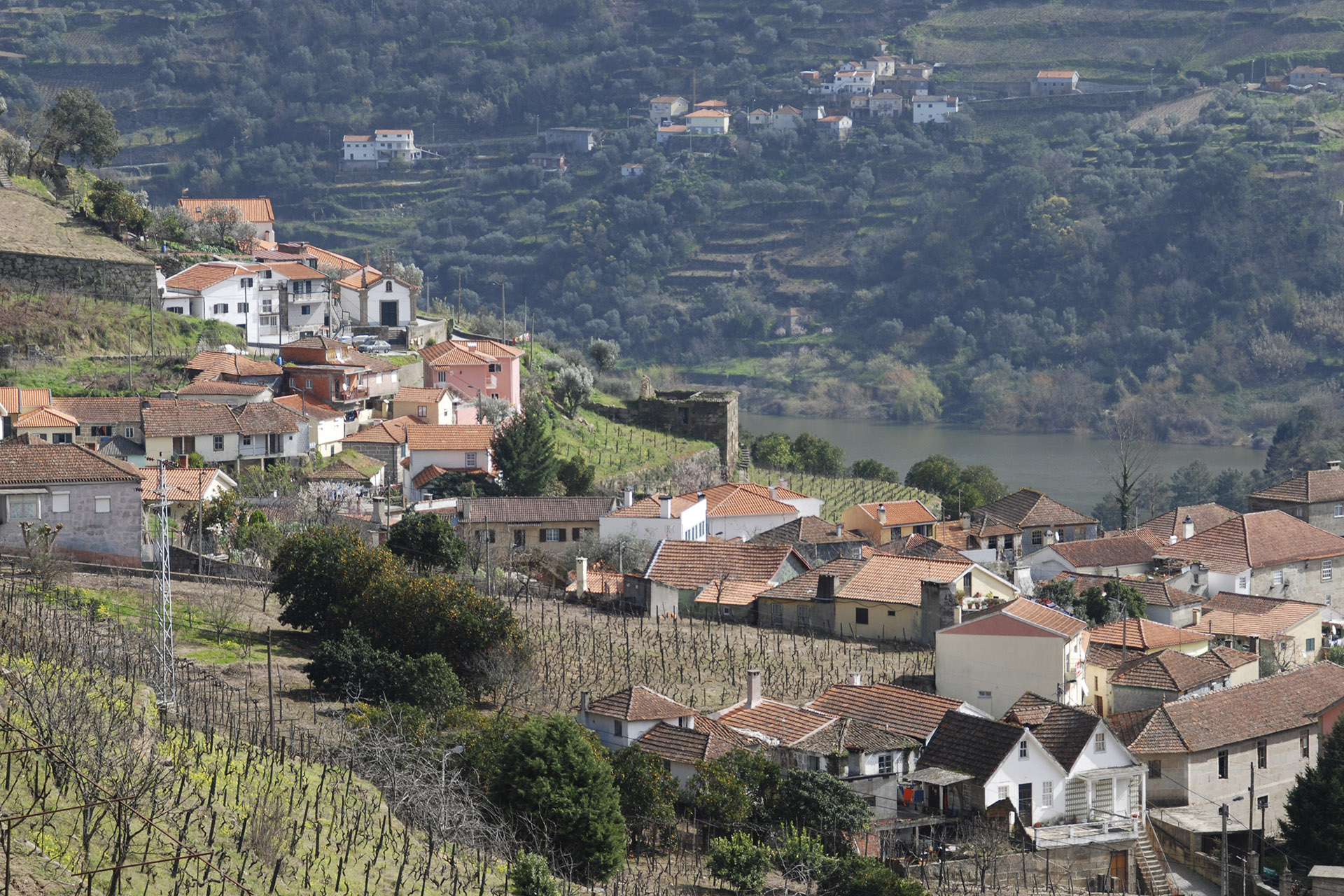 """Overview of Barqueiros and Douro River, Portugal"""