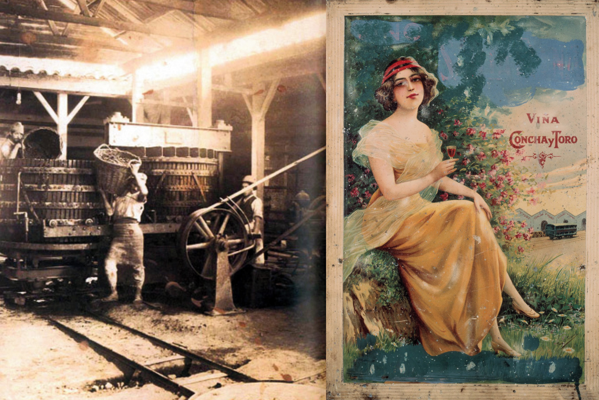 "Left: old photograph of man with straw harvest basket, right: illustration of woman in yellow dress with ""Viña Concha y Toro"""