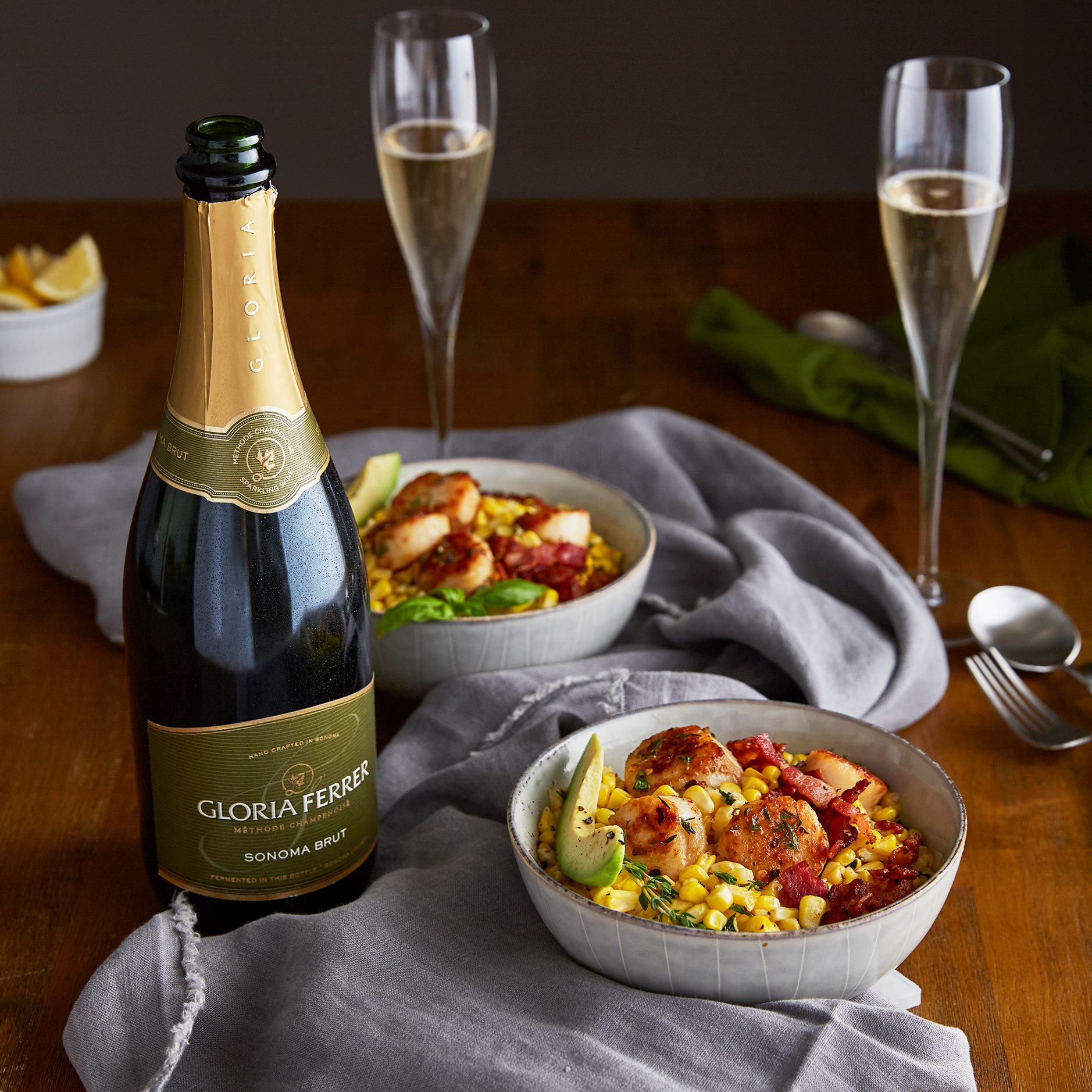Gloria Ferrer Sonoma Brut & Brown Butter Scallop Salads with Corn, Bacon, and Avocado Salad
