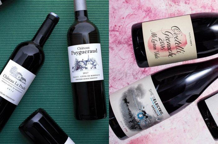 Classic examples of Old World and New World wine labels / Left photo: Meg Baggott; Right photo: Sara Littlejohn