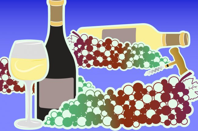 Illustration of grapes and bottles for best wine vintages
