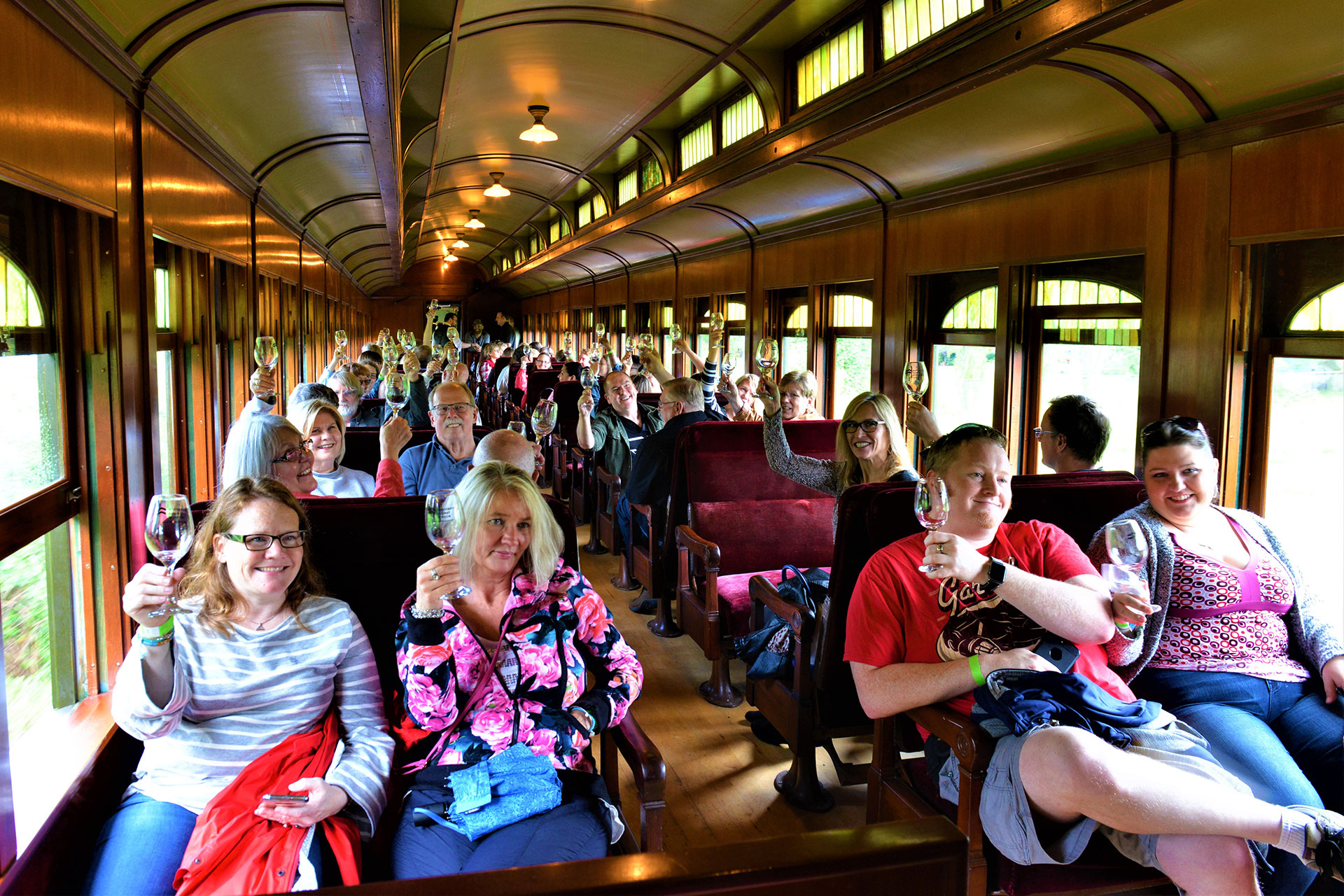 Guests on the Snoqualmie Wine Train