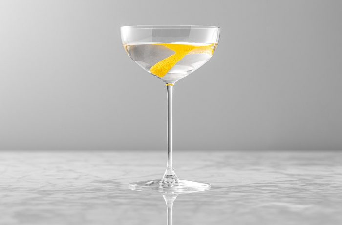 Classic vodka martini with lemon twist