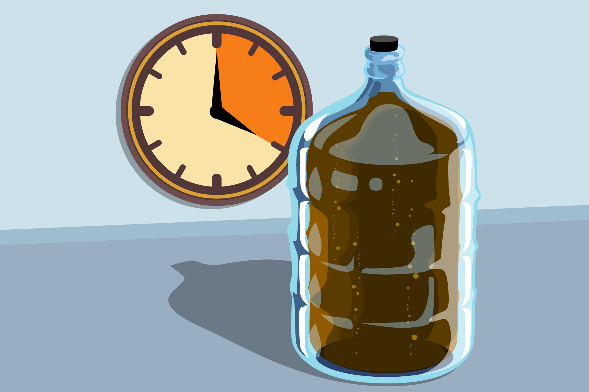Illustration of fermenting beer in glass carboy
