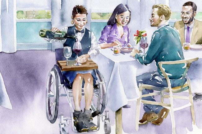 illustration accessibility wine dining wheelchair
