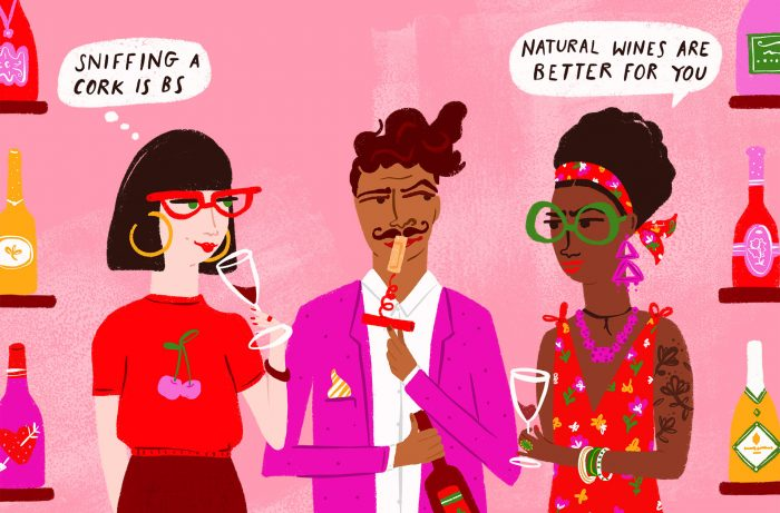 Illustrated wine drinkers discussing wine myths
