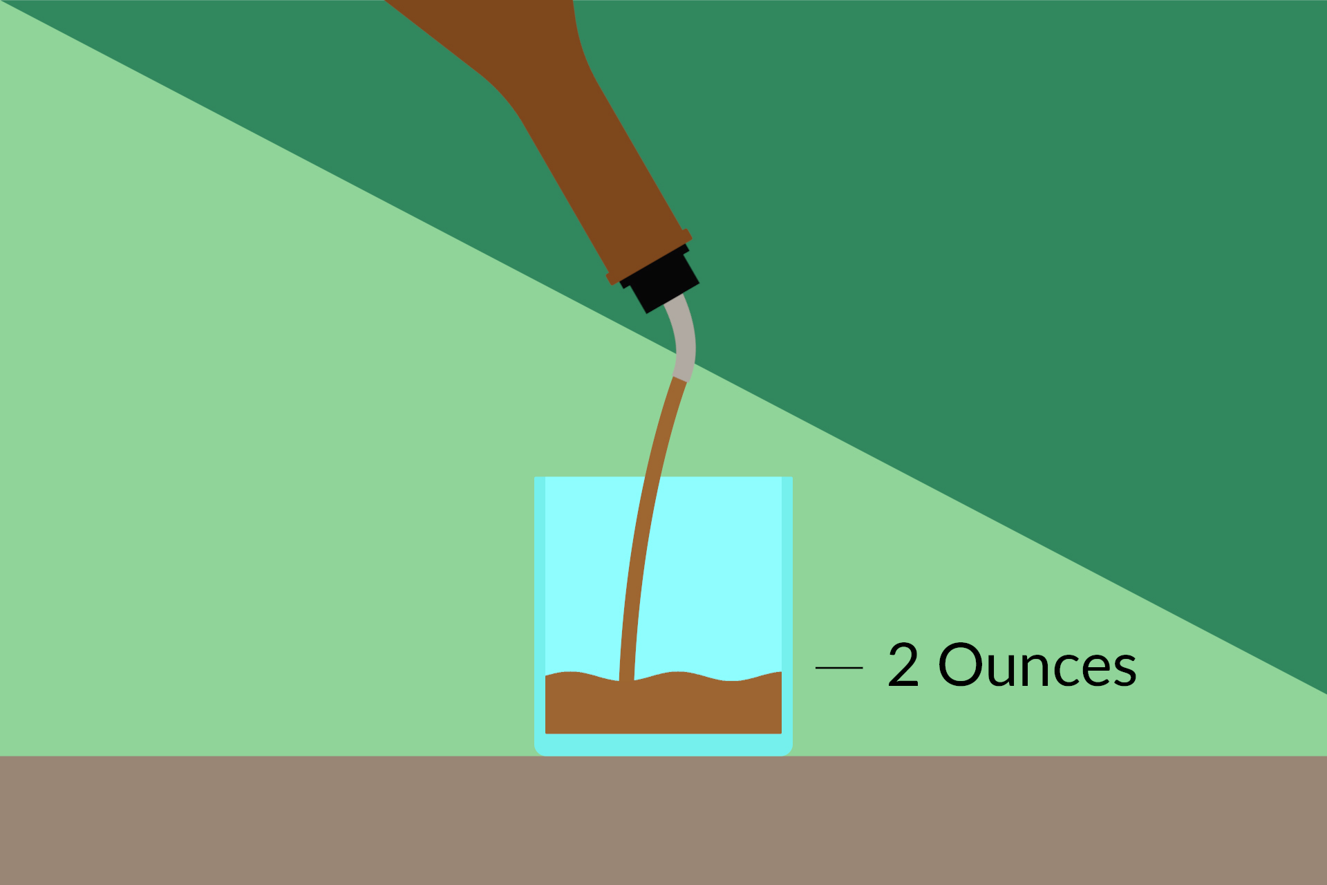 Illustration of two ounces of liquor being poured from a bottle with a speed pourer