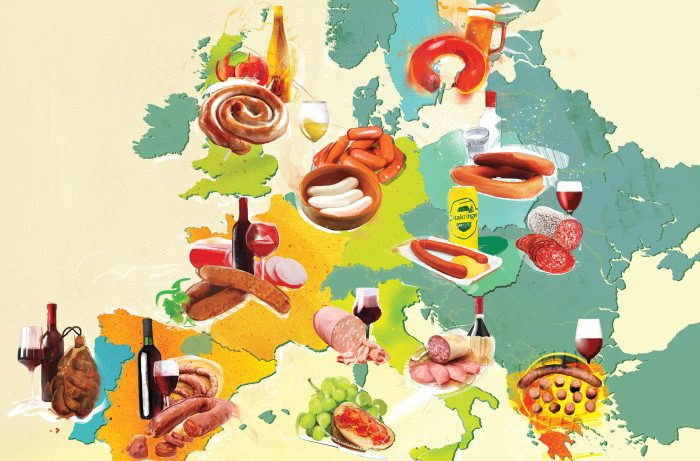 Illustrated map of sausages of the Europe