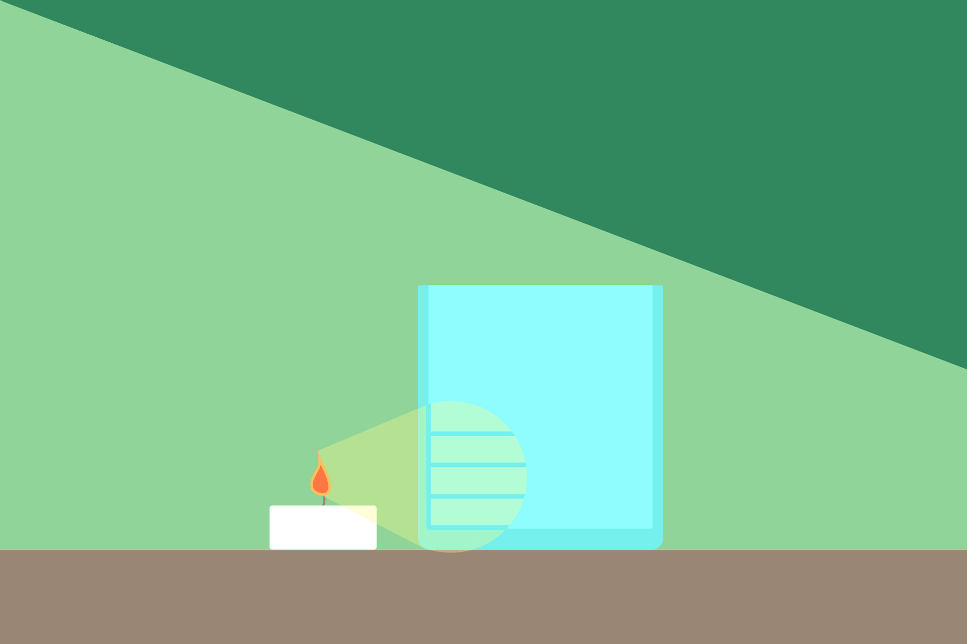 "Illustration of a tea candle next to rocks glass, showing the ""lines"" in the glass"
