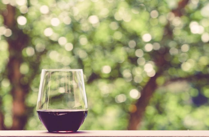 a glass of red wine in a window