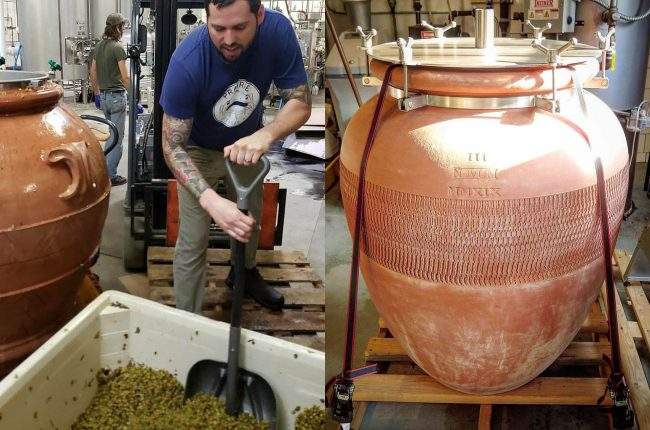 A man brewing beer in an amphora