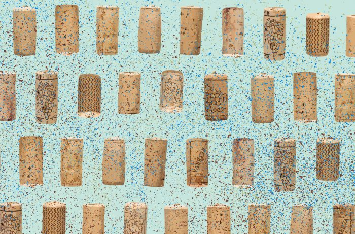 Mosaic of corks on blue/green background
