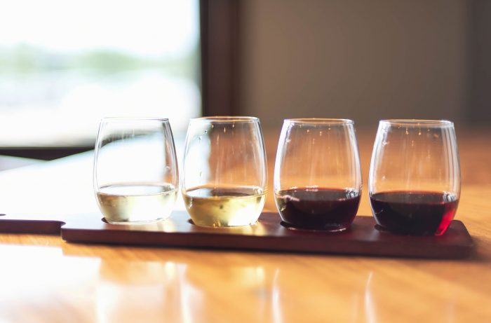 A sampling a variety of wines