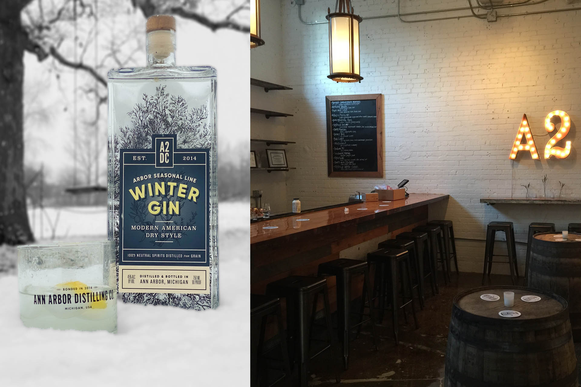 Ann Arbor Distilling's Winter Gin, and indoor of tasting room