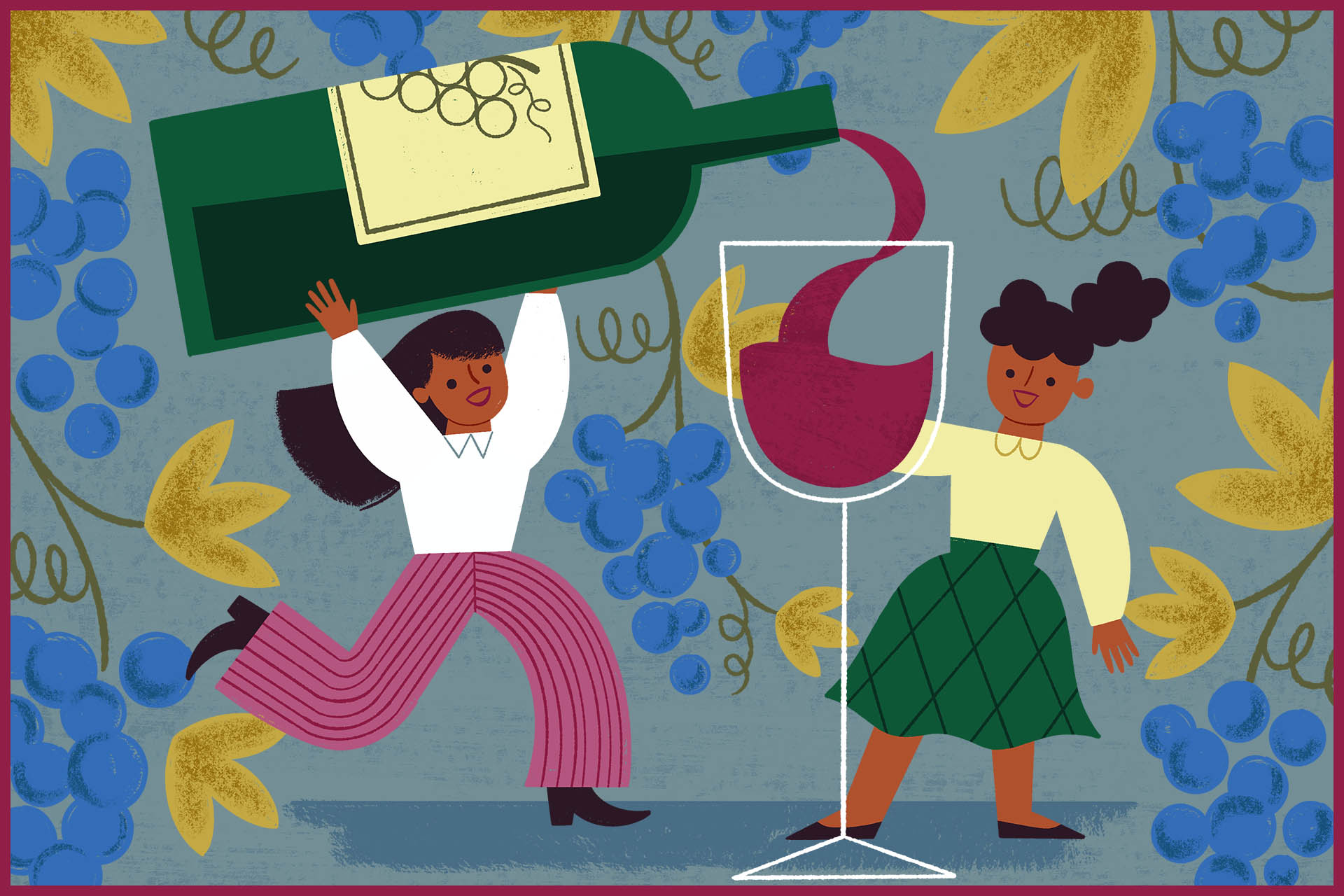 Illustration of women pouring wine out of a large bottle into a glass for California women in wine podcast episode