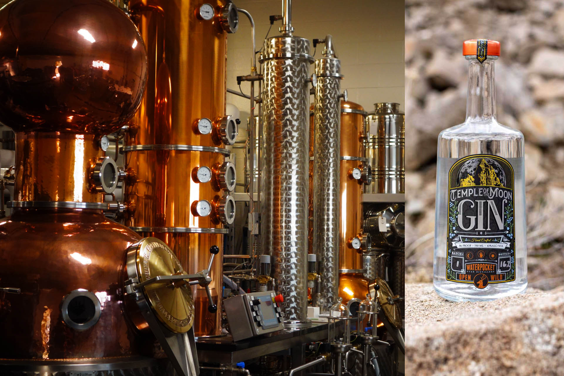 Image of copper stills at Waterpocketnext to a photo of its Temple of the Moon Gin