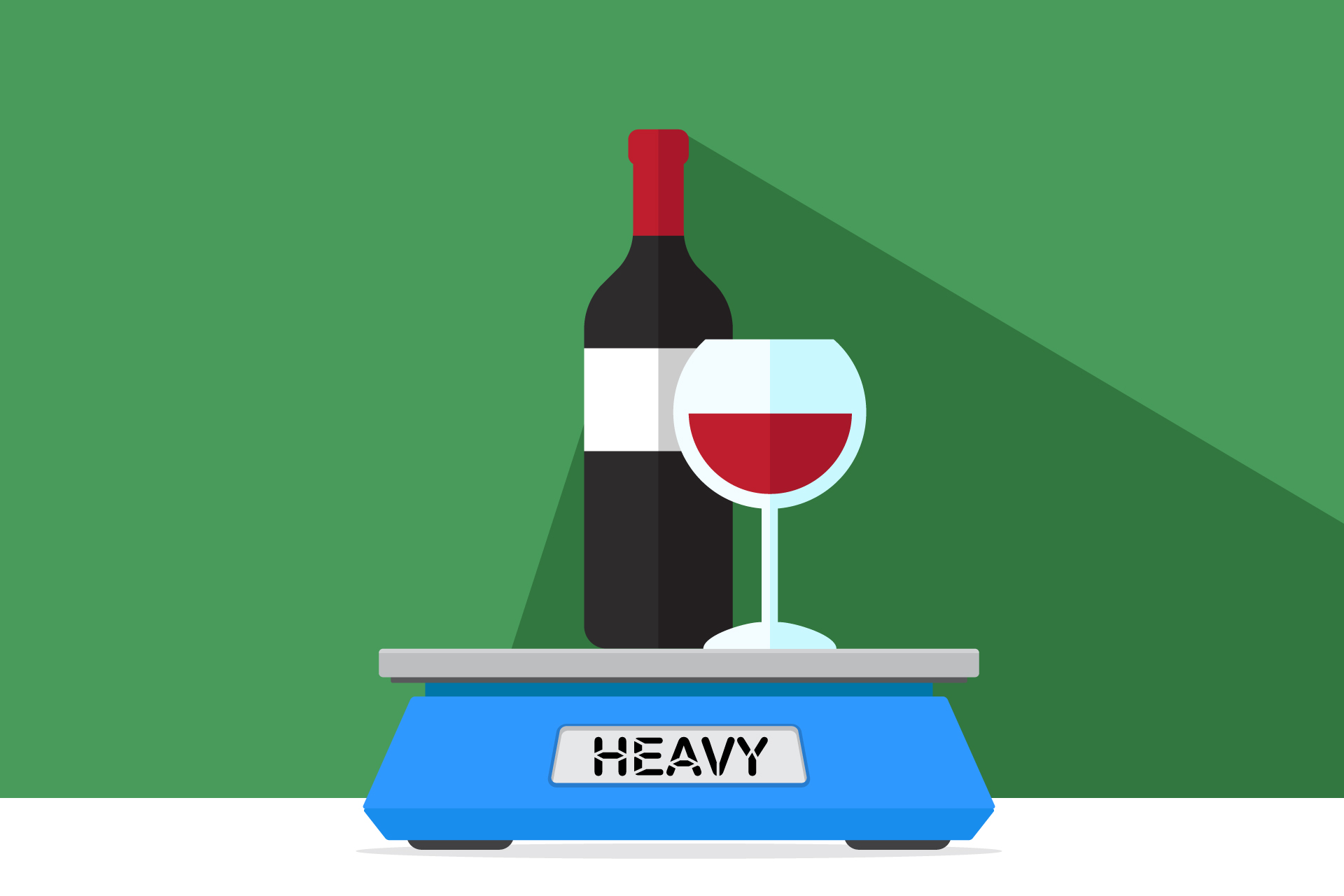 """Illustration of a wine bottle on a scale marked """"heavy"""""""