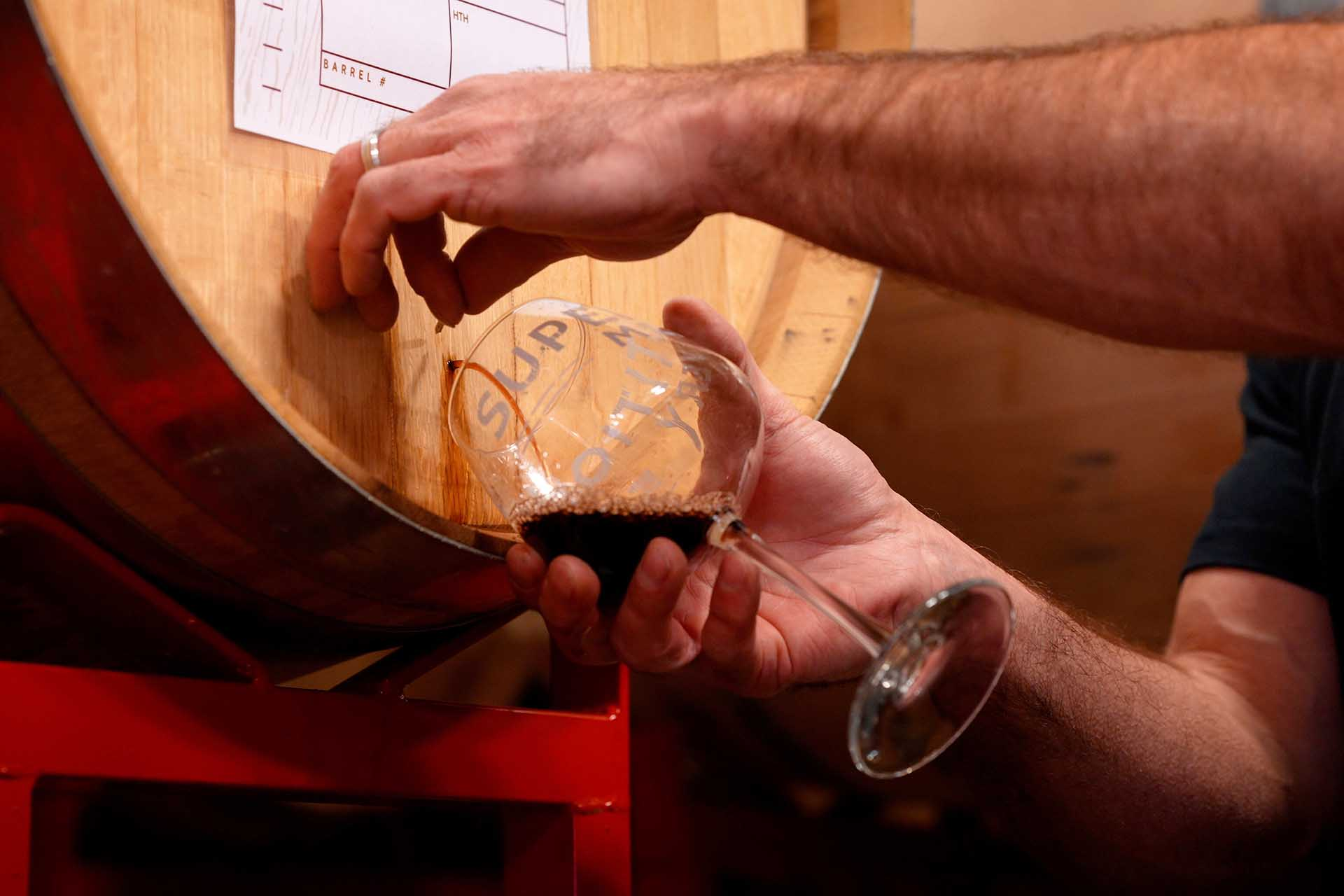 In order to reduce the risk of pulling a sample with a wine thief through the barrel bung, Superstitoin Meadery will pull a sanitized stainless steel nail from a dominant head stave and take small samples directly through an inch of oak