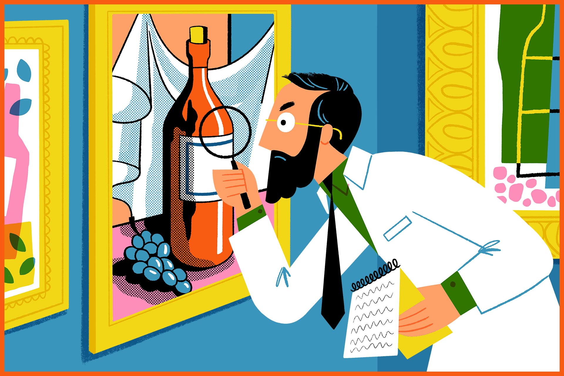 Illustration of a man with a magnifying glass looking at a piece of hanging artwork that depicts a wine bottle