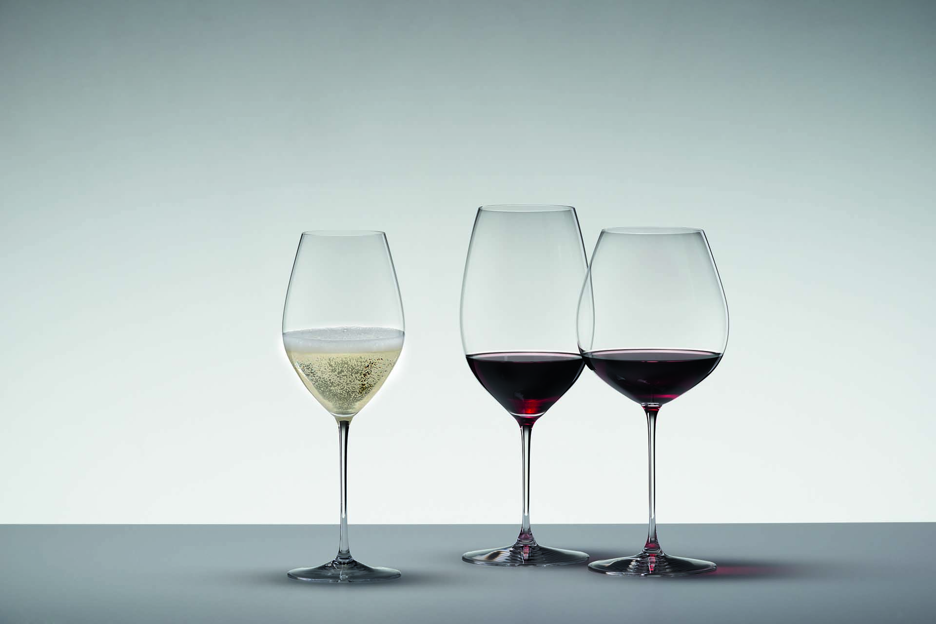 Riedel's Veritas Collection, left to right: Champage, New World Shiraz, and Old World Pinot Noir glasses / Photo courtesy Riedel
