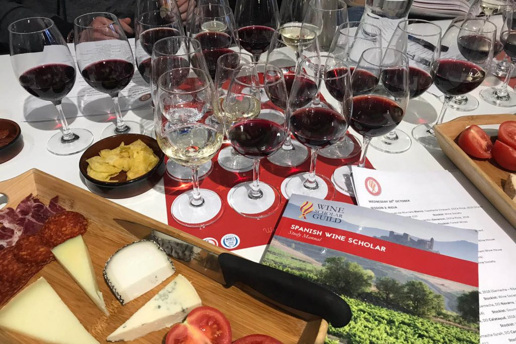 Photograph of red wine in glasses lined up for tasting with cheese and a coursebook in the foreground.