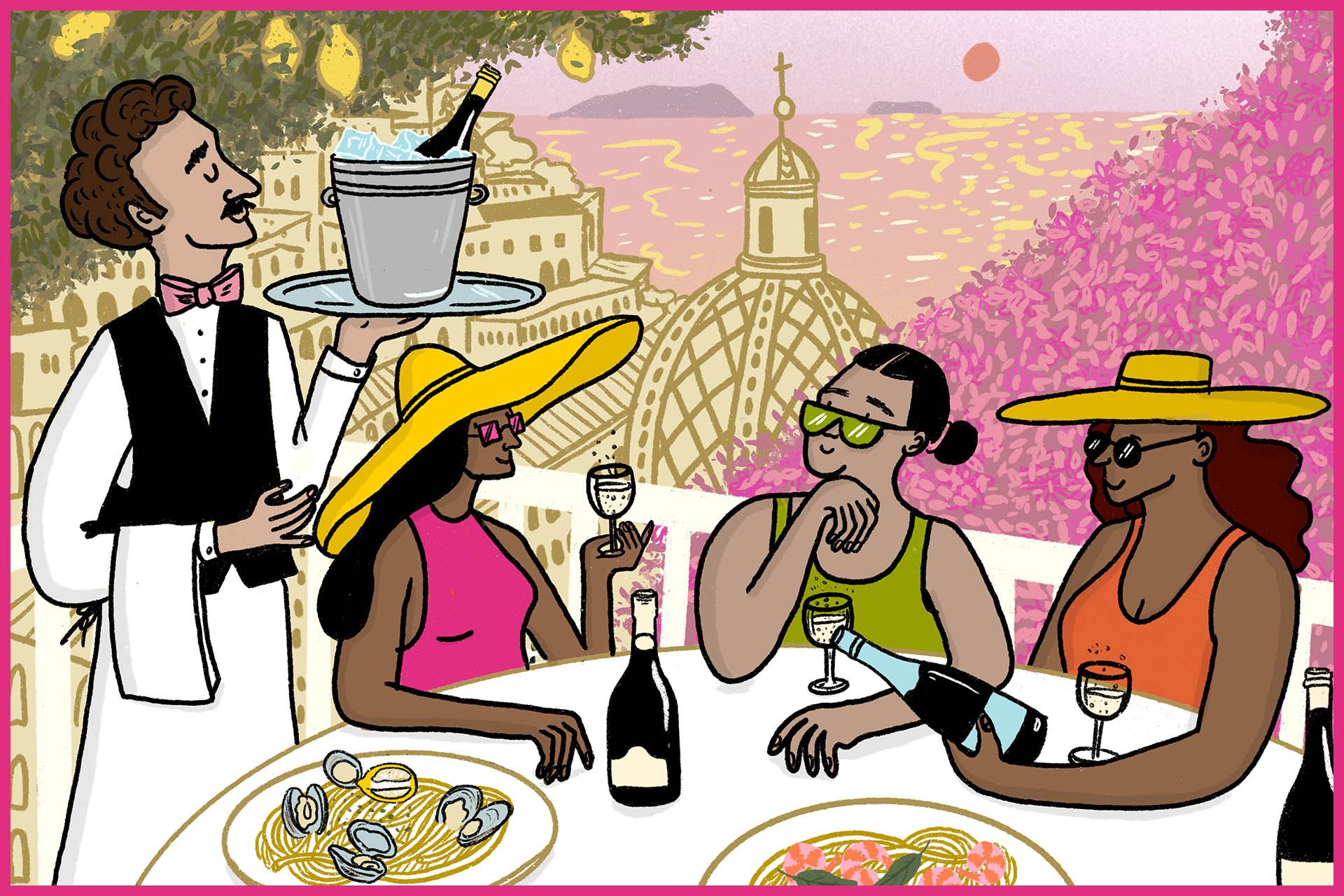 Illustration of people around a table in an Italian waterfront setting pouring what appears to be bottles of sparkling wine.