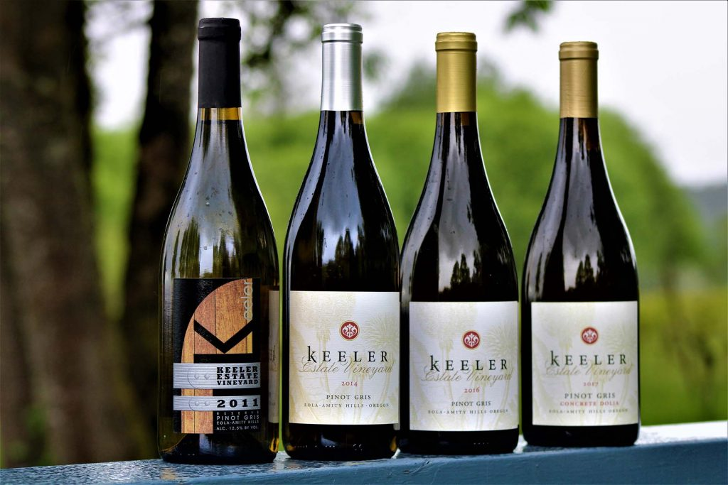 Pinot Gris bottles from Keeler Estate Winery in Oregon