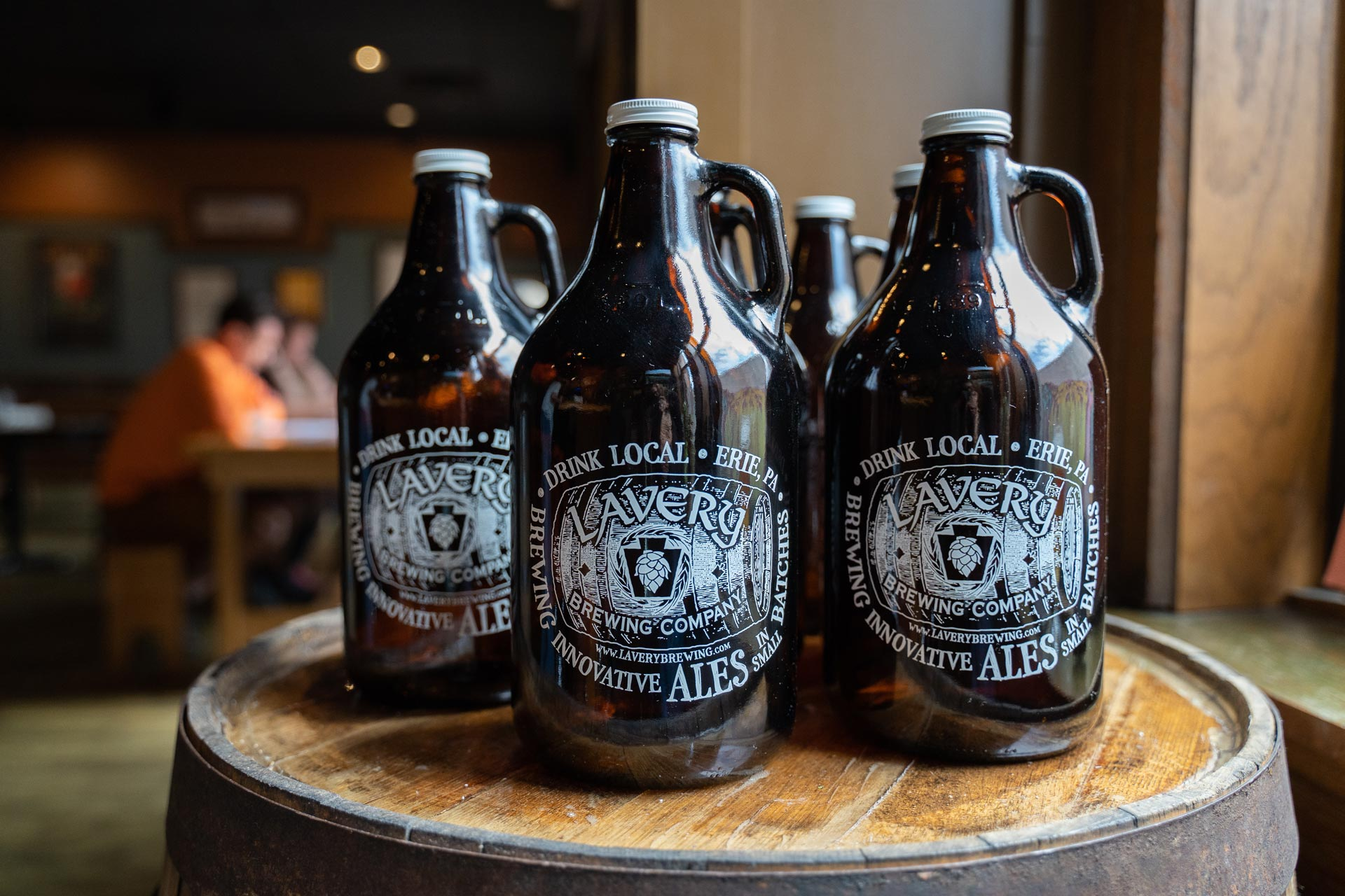 Growlers at Lavery Brewing Co. in Erie, Pennsylvania