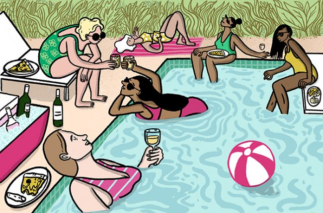 Illustration of friends swimming and lounging by a pool with wine all around