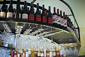 Interior of Canard and wine selection