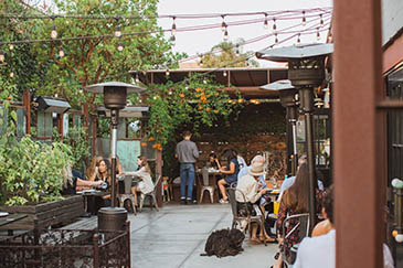 Outside dining at The Lark, surrounded by foliage
