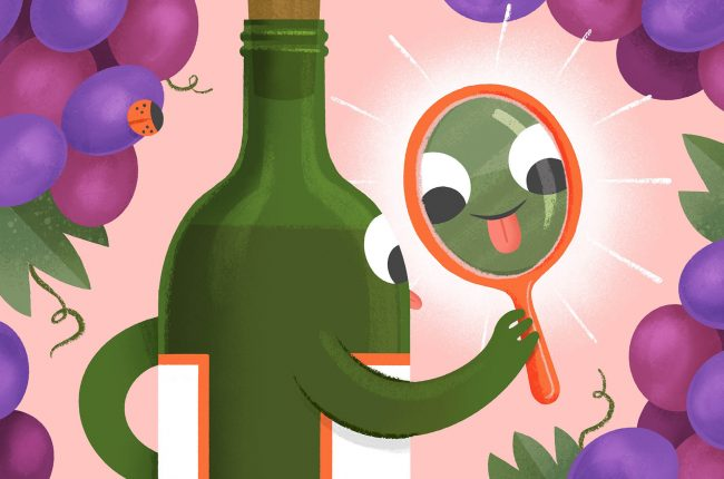 Illustration of cartoon wine bottle examining its tongue and midpalate in a mirror