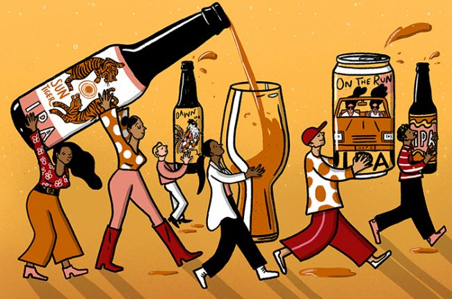 Illustration for the Wine Enthusiast Podcast Episode 98 on Why IPAs are Unstoppable, featuring animated people holding various beer glasses and bottles with one being poured from bottle to glass in the foreground.